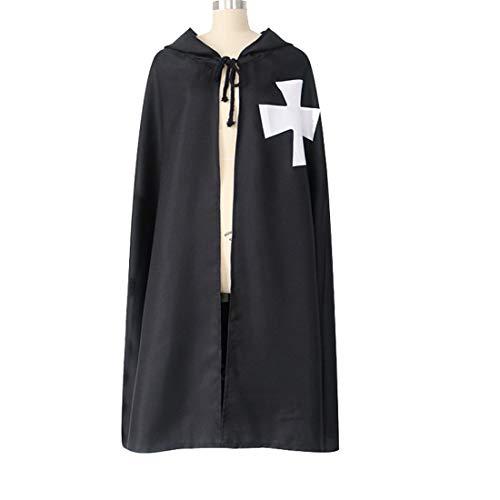 MAYSONG - Disfraz Medieval de Caballero de Caballero templario de brujero Warrior Cloak Capa, para Hombre, para Halloween