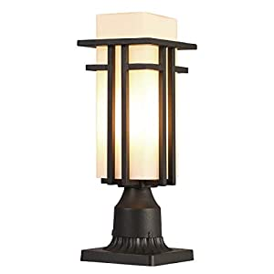 EERU Outdoor Post Lights Waterproof Metal Frame with MilkWhite Frosted Glass, Pier Mount Outdoor Lighting Fixtures(with 3-Inch Pier Mount Base)Outdoor Post Lantern for Garden Backyard and Porch