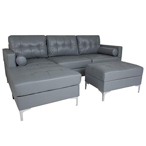 Flash Furniture Riverside Upholstered Tufted Back Sectional with Left Side Facing Chaise, Bolster Pillows and Ottoman Set in Gray Leather
