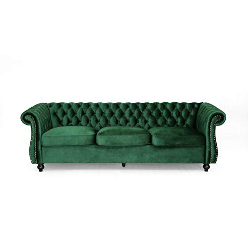 Vita Chesterfield Tufted Jewel Toned Velvet Sofa with Scroll Arms, - Leather Sofa Green
