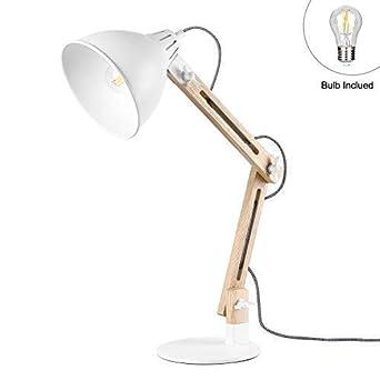 Viugreum Led Leselampe Schreibtischlampen Mit Schwenkbaren Holzarmen