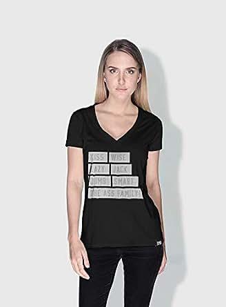 Creo Kiss Funny T-Shirts For Women - L, Black