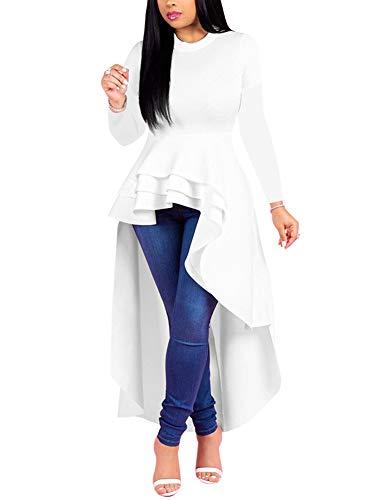 Fashion High Low Tops for Women - Unique Ruffle Long Sleeve Tunic Shirt (Small White)