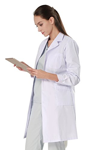 Nideen-Womens-White-Lab-Coats-Doctor-Workwear-Unisex-Lab-Coat-Scrubs-Adult-Uniform-Long-Sleeves-M