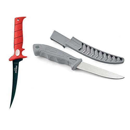Bubba Blade 7 Inch Tapered Flex Fillet Fishing Knife Black Sheath Red Rubber No-Slip-Grip Handle Stainless Steel Non-Stick Blade Fishing Boating Hunting & South Bend Stainless Steel Fillet 4