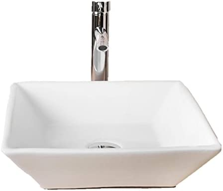 Walcut USBR1029 Bathroom Luxury White Art Lavatory Porcelain Ceramic Square Vessel Sink Vanity Sink and Chrome Faucet Chrome Pop Up Drain