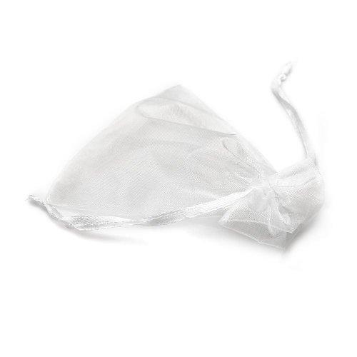 結婚式巾着袋ジュエリーポーチギフトバッグ誕生日バレンタインラッピングオーガンザバッグ袋9*12cm 24枚セット Lサイズ 無地 ホワイト