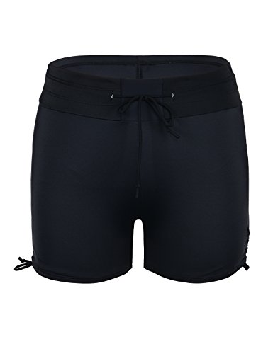 Septangle Womens Black Swim Sports Board Shorts Bottom with Side Ties,US 14 by Septangle