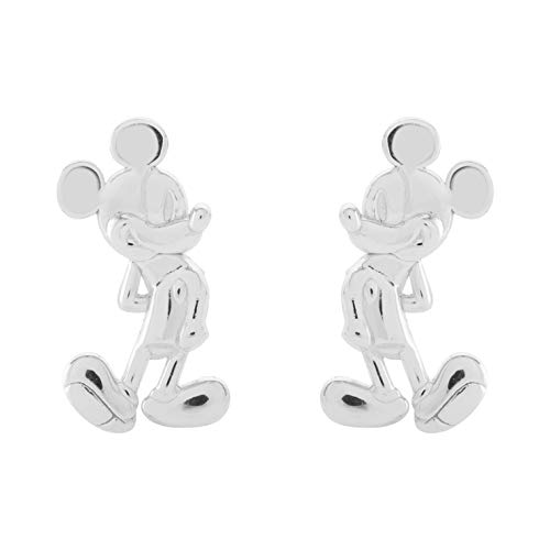 Disney Classic Mickey Mouse Jewelry for Women, Sterling Silver Mickey Mouse Stud Earrings; Mickey's 90th Birthday Anniversary Classic Mickey Mouse Earrings