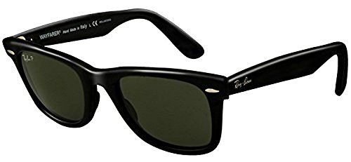 Ray-Ban Original Wayfarer RB 2140 Sunglasses Black / Crystal Green Polarized (901/58) 54mm & HDO Cleaning Carekit - 2140 Polarized