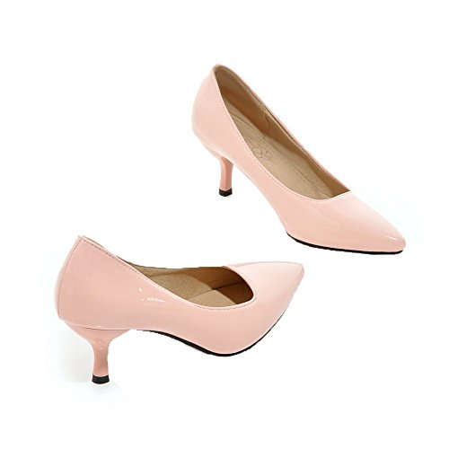 Leather Pointed Pink Shoes Patent Women's Heels Kitten Toe On Pull WeenFashion Court nvPIq0ZZx