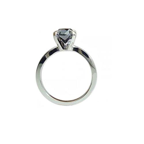 Quatre Griffes un diamant 0,75Carat Noir Bague de Fiançailles en Or Blanc 9Carats