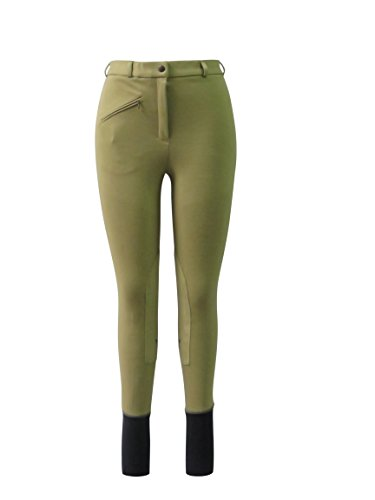 Rise Breech Low (TuffRider Ladies Basic LowRise Pull-On Knee Patch Breeches | Horse Riding Equestrian Pants | Color - TAN GREEN | Size - 28)