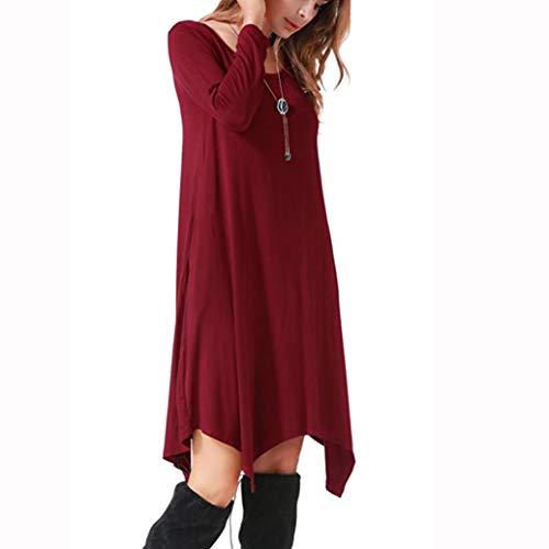 Estate Rosso Collo vestito donna Maniche Stampa CLOOM Irregolare Sciolto Beach Donna Vestito Solido corto Estate Rotondo Vestito Dress HtxgRWTqw