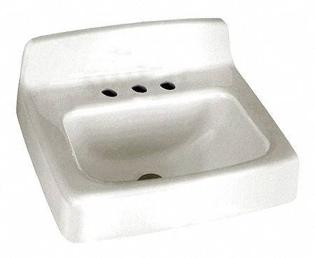 (American Standard 4869.008.020 Regalyn Enameled Cast Iron Wall Hung Sink with 8-Inch Faucet Spacing, White)