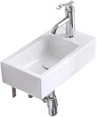 シンク周り用品 盆地長方形シンプルな洗面シンプルセラミック洗面台バルコニー浴室の洗面台のシンクをぶら下げバスルームのシンクミニ (Color : 白, Size : 45*24.5*12cm)