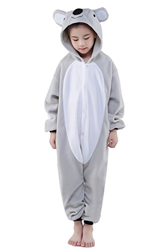 SWEETXIN Halloween Unisex Children Gray koala Pajamas Sleeping Wear Animal Cosplay Costume (M, Gray -