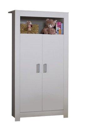 AVANTI TRENDSTORE - Baby-Kleiderschrank mit Soft-close funktion mit 2 Kleiderstangen, weiß matt Dekor, ca. 132x185x54 cm