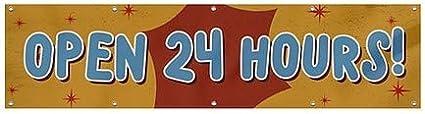 CGSignLab Open 24 Hours Nostalgia Burst Heavy-Duty Outdoor Vinyl Banner 12x3