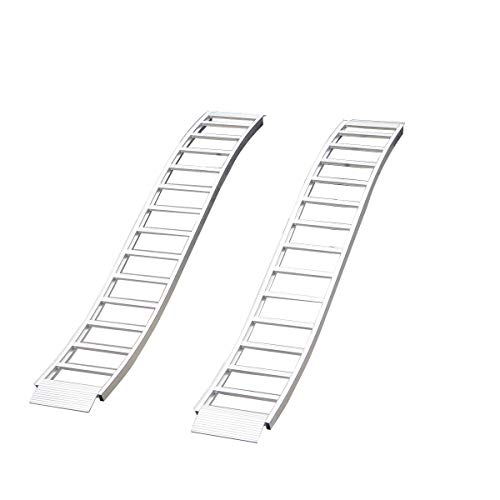 CargoSmart Aluminum Fixed S-Curve Ramp with Treads (2pk)  Easily and Safely Load and Unload Your Light Equipment, Lawn Tractors, ATVs and More, 1,500 lb. Capacity, 12 W x 90 L