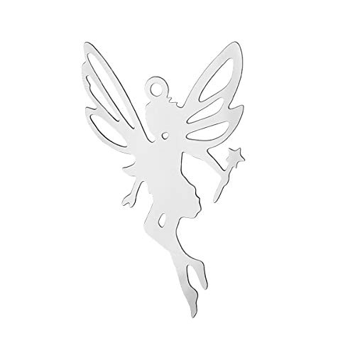 Stainless Steel Charm Pendants | Fairy Silver Tone 3.2Cm X 20.0Mm (3 Pcs)