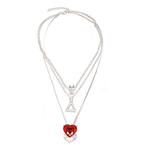 YouCY Fashion Charm Multilayer Ruby Triangle Rhinestone Pendant Necklace Choker Valentine's Day Gift for Women