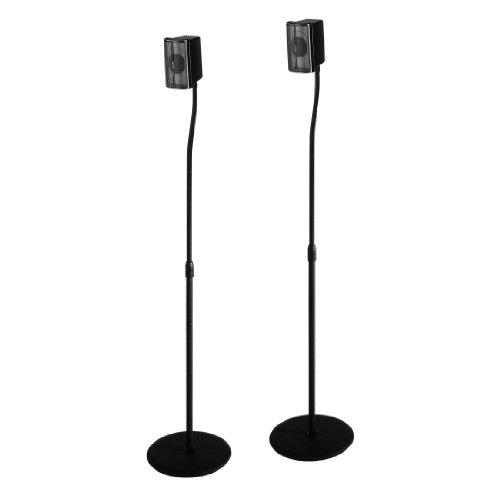 Hama Lautsprecherständer 2er-Set (höhenverstellbar bis 123 cm, je 5 kg belastbar, versteckte Kabelführung) schwarz