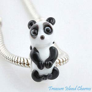 Harissa Panda LAMPWORK Murano Glass 925 Sterling Silver European Euro Bead Charm Crafting, Bracelet Necklace Jewelry Findings Jewelry Making Accessory