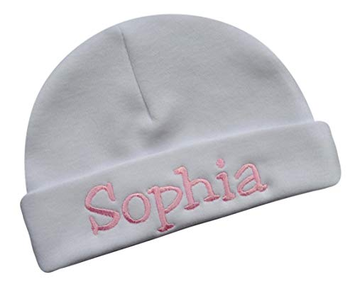 Funny Girl Designs Embroidered Baby Girl Hat with Your Custom Personalization Your Custom Text! (White ()