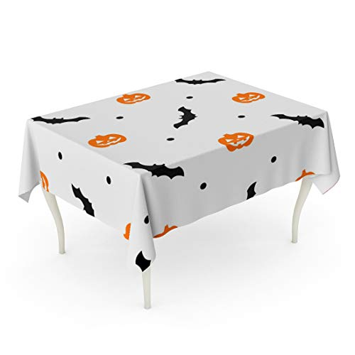 Tarolo Rectangle Tablecloth 60 x 90 Inch Autumn Halloween Pattern Orange Pumpkins and Bats on White Black Cartoon Carving Celebration Table Cloth
