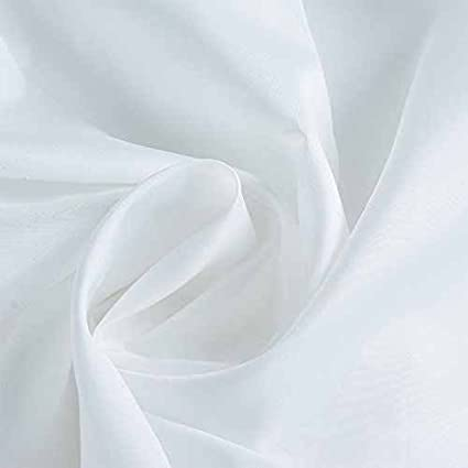 WHITE EXTRA LONG PLAIN FABRIC SHOWER CURTAIN 180CM WIDE X 200CM LONG WATERPROOF WITH 12 HOOKS RING 100/% POLYESTER WEIGHTED HEM