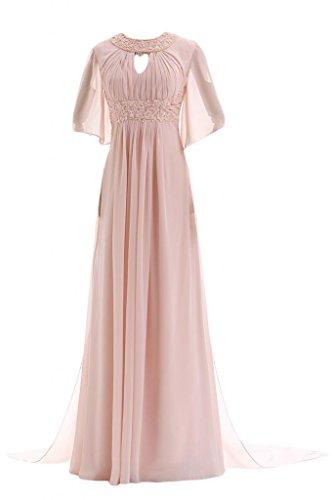 Gorgeous Bride Elegant Lang Rundkragen A-Linie Halb Aermel Chiffon Schleppe Abendkleid Festkleid Ballkleid