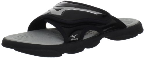 Black Softball Slides (Mizuno Runbird Slide 6 BK-SL Sandal, Black/Silver, 9 M US)