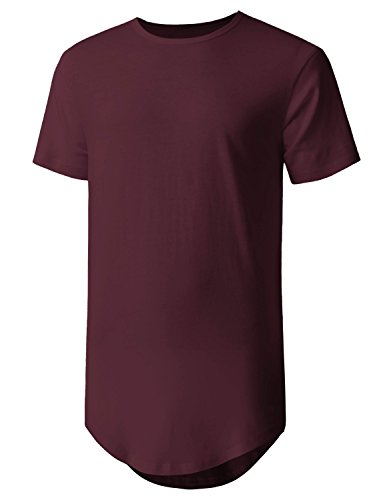 Hat and Beyond Mens Basic Hipster T Shirts Hip Hop Soft Casual Tee (Medium, 1hc01_Wine)