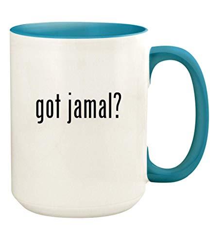 got jamal? - 15oz Ceramic Colored Handle and Inside Coffee Mug Cup, Light Blue