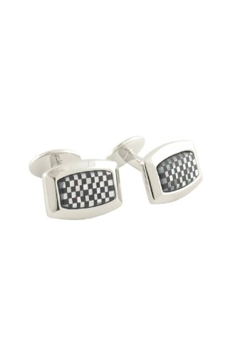 David Donahue Sterling Silver and Mother of Pearl Checkerboard Cufflinks - Black Onyx (H95061502) ()