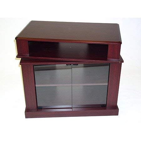 Stylish TV Stand With Swivel Top, Sleek Design, Easy-Glide Casters, Tempered Glass Doors, Two Shelves, Suitable For Any Living Room Office And Bedroom, Adds Elegant And Classy Look, Cherry Finish
