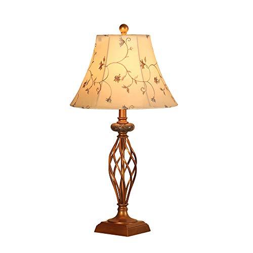 HUACANG Lámpara De Sobremesa Caliente Dormitorio Sala De Estar Decorada Canica Estilo Retro Pantalla De Tela Lampara De Mesa...