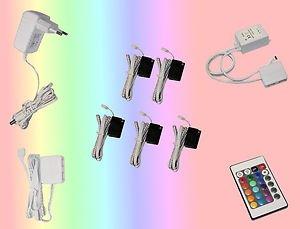 5er Set Glaskantenbeleuchtung RGB LED Farbwechsel Trango TG5022-05