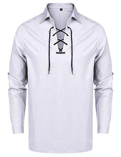 URRU Mens Scottish Jacobite Ghillie Kilt Shirt Casual Long Sleeve Lace-up Shirts Tops White XXL -