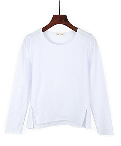 Women's Round Neck Long Sleeve Blouse Tops for Spring Tees Shirt