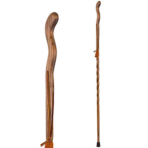 Trekking Pole Hiking Stick for Men and Women Handcrafted of Lightweight Wood and made in the USA, Brown Oak,  48 Inches