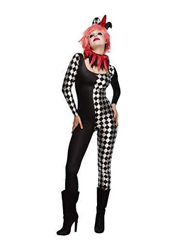Smiffy's Women's Fever Harlequin Jester Costume, Catsuit, Collar and Hat on Headband, Halloween, Fever, Size 6-8, 45398