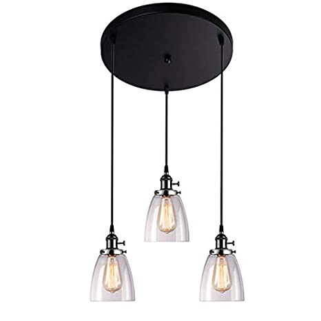 3 Lights Pendant Light Glass Lampshade Chandelier Ceiling Lamp Light Fixture Restaurant Hanging Lamps Flush Mount