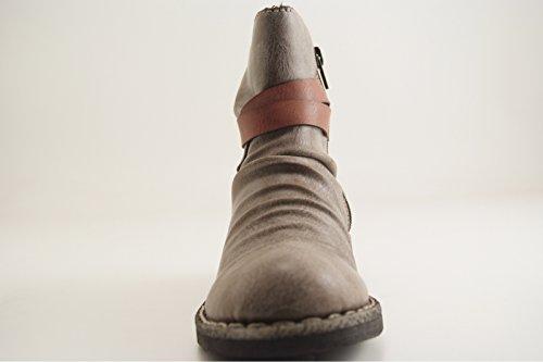 Damen 746K0 Slip Zeitungsprint Stiefel Boot Rieker on Boot Schlupfstiefel Stiefelette d54xZ5nf