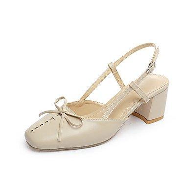 LvYuan Mujer Sandalias Confort Cuero Patentado Primavera Verano Casual Confort Pajarita Hebilla Tacón Robusto Beige Marrón 2'5 - 4'5 cms beige