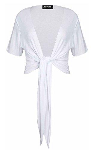 PurpleHanger Women's Plus Size Tie Up Shrug Cropped Bolero Top White 16-18 Tie Front Bolero