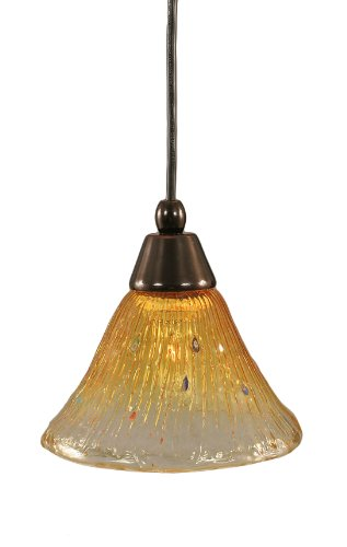 Toltec Lighting 22-BC-770 Cord Mini-Pendant Light Black Copper Finish with Gold Champagne Crystal Glass, 7-Inch