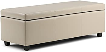 Simpli Home Faux Leather Storage Ottoman Bench