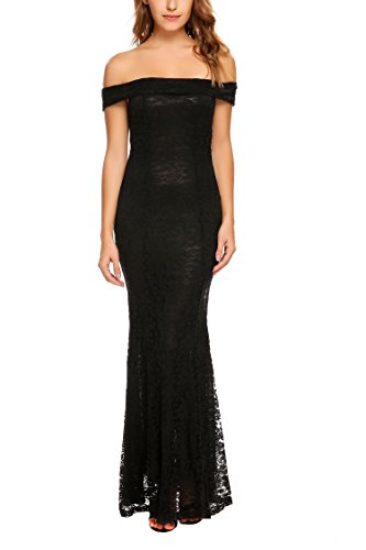 ANGVNS Women Off Shoulder Long Bridesmaid Dress Cocktail Party Prom Lace Dress for Wedding Black M